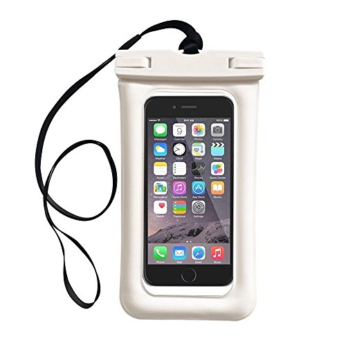 """Floating Waterproof Case, IFCASE Universal Water Proof Dry Bag Airbag Pouch for iPhone 6/6S/7/8 Plus, iPhone X, Galaxy Note 8/S7 Edge/S8/S8+, Google Pixel 2 XL Up to 7"""" Diagonal (White)"""