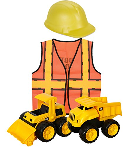 Yellow Foam Construction Hat (CAT Tough Tracks & Construction Worker Dress Up for Kids Bundle. Includes 2 CAT Tough Tracks Construction Toys (Dump Truck & Loader) Kids Construction Worker Vest & Foam Construction Hat)