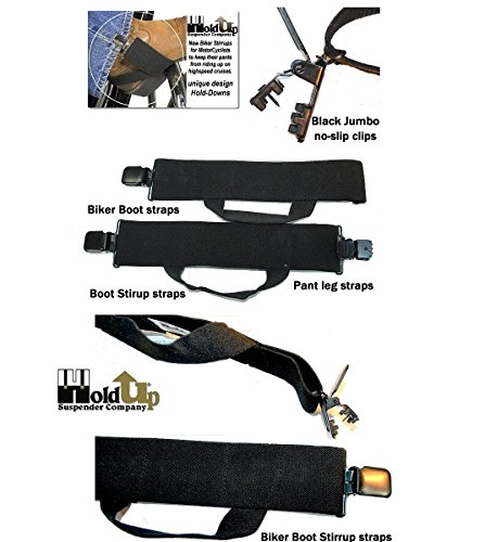 Hold-Ups Biker Stirrups or Boot Straps w/ Patented No-slip Jumbo Black Metal Clips by Hold-Up Suspender Co. (Image #1)