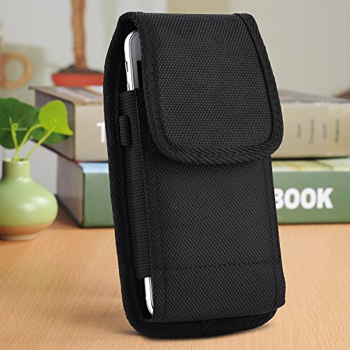 (Apple iPhone XS Max ,iPhone XR,  iPhone 8 Plus , iPhone 7 Plus , iPhone 6S Plus , 6 Plus 5.5'' Version EpicDealz Rugged Pouch Case Holster Flap Steel Metal Belt Clip + Carabiner Hook )