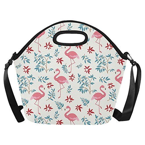Neoprene Raft - Flamingo Pattern Print Neoprene Waterproof Insulated Lunchbox Portable Carry Tote Picnic Storage Bag Lunch box Food Bag Gourmet Handbag For School Work Office