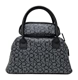 Calvin Klein Makeup Bags Set of 2 Cosmetic Bags Purse 2 piece Handbag Synthetic (Textured Black / White)