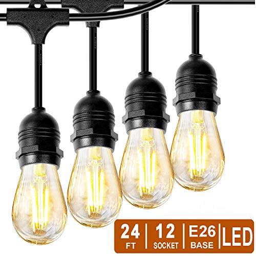 Phiersun LED Edison String Lights 24 Feet Waterproof IP65 Commercial Grade Outdoor String Light UL Listed 12pcs E26 Base Hanging Sockets, 13PCS S14 2W LED Bulbs Warm White 2700K Open-air Party Patio