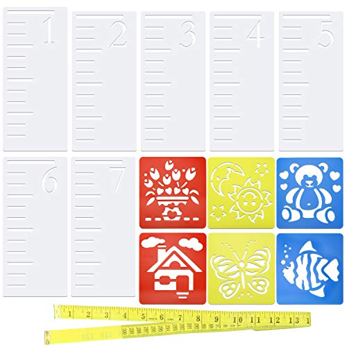 Painting Measures - Meetory 7 Feet Growth Chart Stencil and 6 pack Painting Stencil, Kids Height Growth Chart Reusable Ruler Template Painting, Measuring Kids Height Wall Decor, Rustic Decor for Farmhouse with 120inch(3m