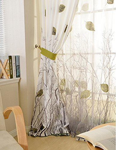 Elleweideco Modern Green Leaf Tree Branch Window Curtain/drape/panel (Green Sheer, 52Wx84L)