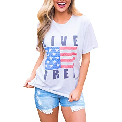 42a416d12335 Amazon.com : Toponly Women Short Sleeve Casual American Flag Print T-Shirt  Independence Day Patriotic Tee Shirt Tops Blouse : Garden & Outdoor