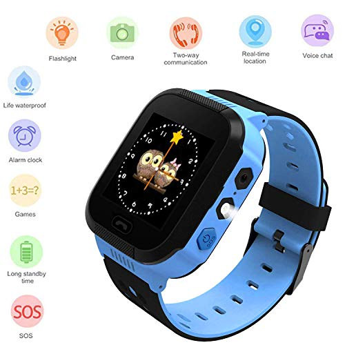 Kids Smartwatch, Waterproof GPS, Child Watch Phone, Camera Watch, SOS Alarm Clock Camera Flashlight Phone, Water-Resistant Smartwatches Phone(Blue)