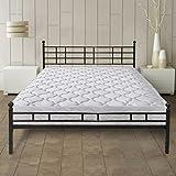 Best Price Mattress 8″ Pocket Coil Spring Mattress and Easy Set-up Steel Platform Bed/Steel Bed Frame [Model H] SET – Twin