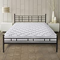 Best Price Mattress 8 Pocket Coil Spring Mattress and Easy Set-up Steel Platform Bed/Steel Bed Frame Set, Queen