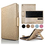 iPad Mini 4 Case with Keyboard, BoriYuan Detachable Wireless Bluetooth Keyboard Folio Flip Protective Slim PU Leather Cover Stand For Apple Mini 4 (2015 Release)+Screen Protector+Stylus, Gold