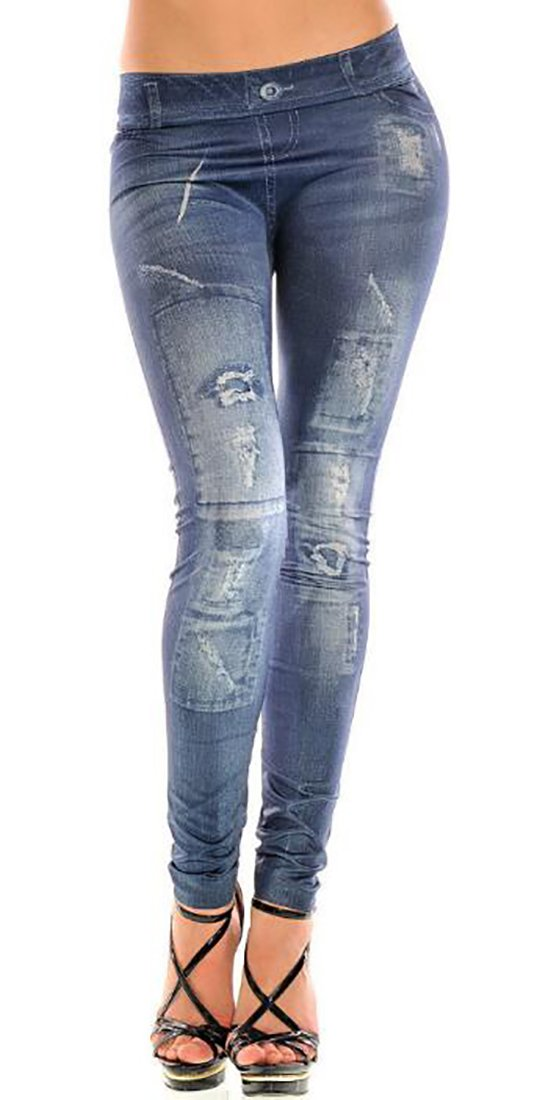 ARTFFEL-Women Mid Rise Ripped Casual Jegging Denim Jeans Pants 1 OS