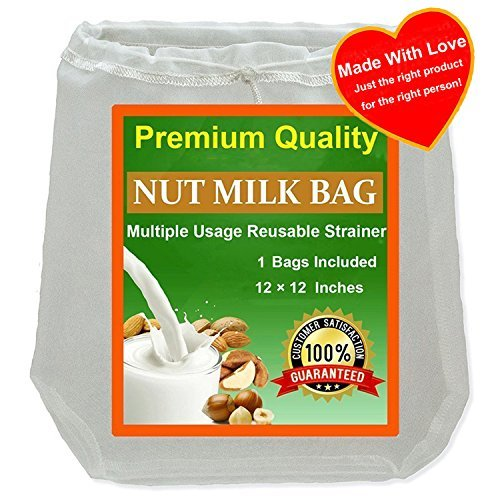 Nut Milk Bag, Reusable Food Strainer, Fine Mesh Cheesecloth, Coffee Filter (Big 12