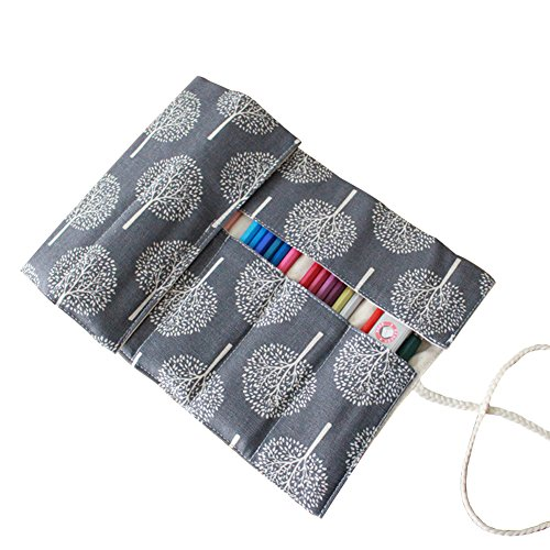 OLizee Canvas Ink Pen Drawing Pencils Wrap Roll Case Bag Org