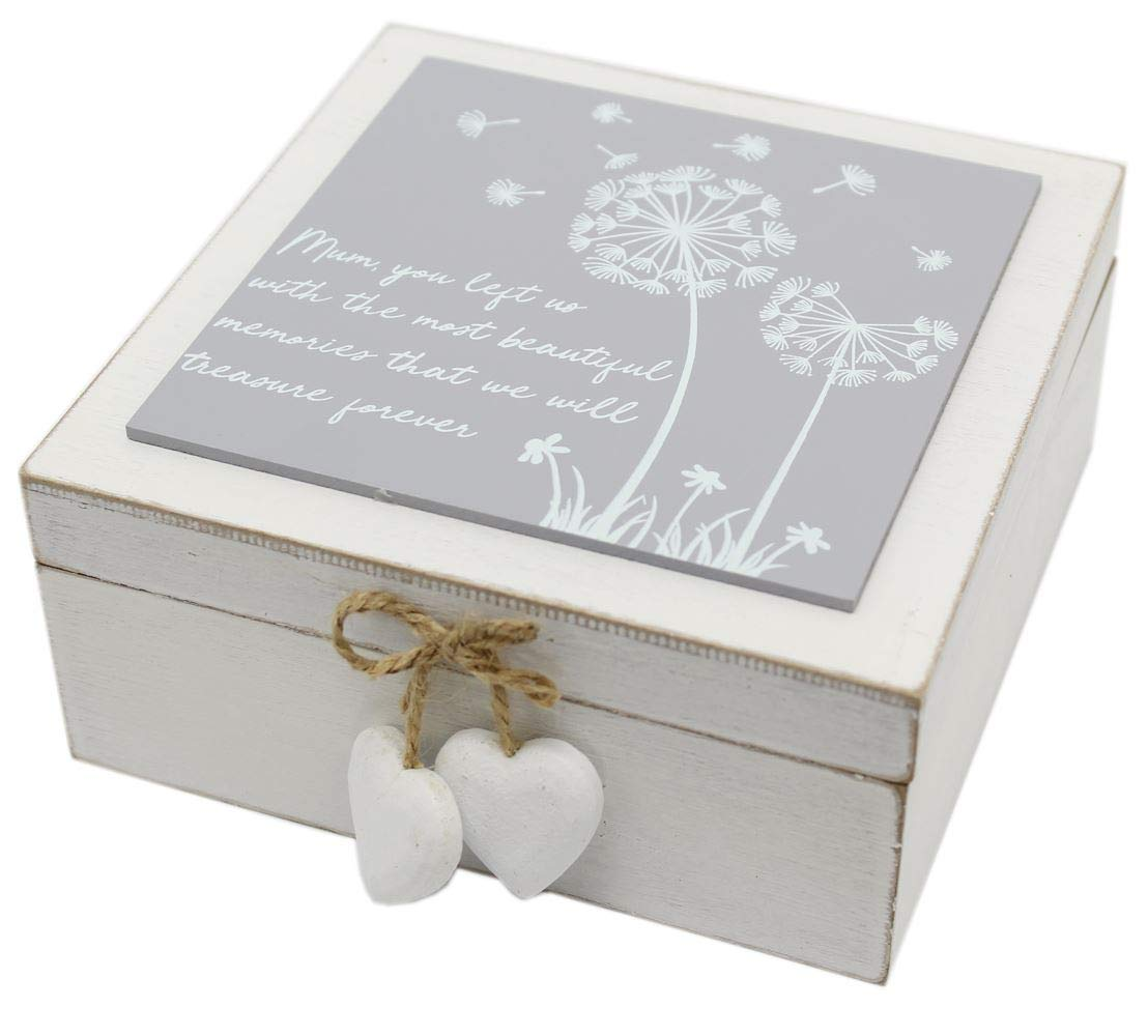 Carousel Home and Gifts White Wooden Bereavement Keepsake In Loving Memory Box ~ Mum