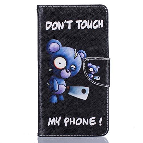 Trumpshop Smartphone Carcasa Funda Protección para Huawei 6S + Flor de ciruelo + PU Cuero Caja Protector Billetera con Cierre magnético Choque Absorción Dont Touch My Phone (cuchillo)