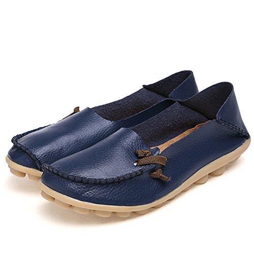 Lucksender Mujeres Soft Comfort Comfort Mocasines Zapatos Azul Oscuro
