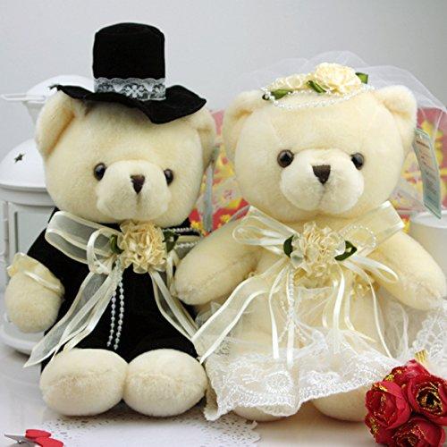 """Bride and Groom Wedding Teddy Bear Decoration Soft Toy for Wedding Car (7"""")"""