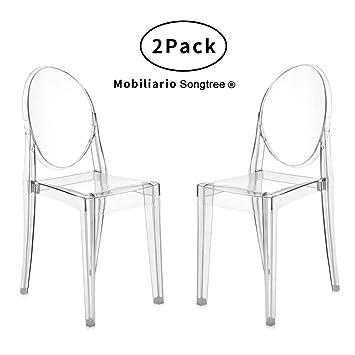 Songtree - (2 x Pack) Sillas Transparentes Material Policarbonato Super Durable Buen Diseño Elegante Modernas sin Reposabrazos