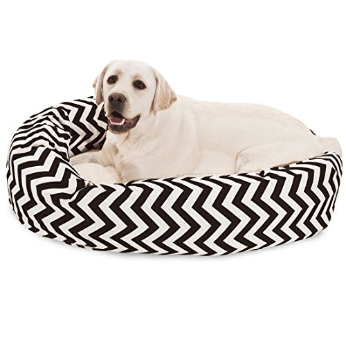 40 inch Black Chevron Sherpa Bagel Dog Bed