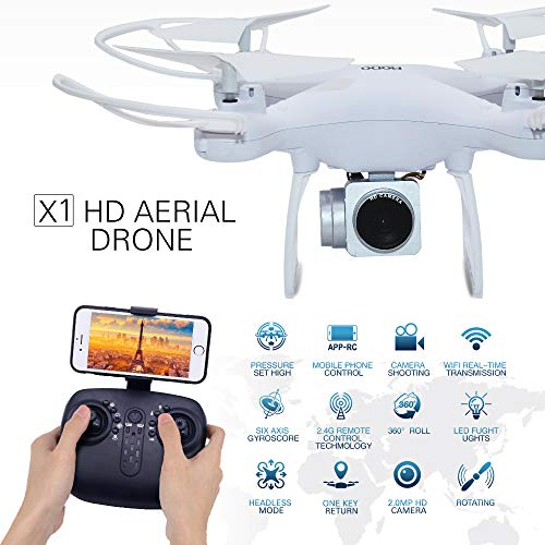RC Drone with 720P HD Adjustable Camera Live Video FPV for Adults and Beginners 40mins Flight Time Drone Quadcopter,APP Controlled Altitude Hold/Long Flight Time Helicopter Toy Bonus Battery (White)