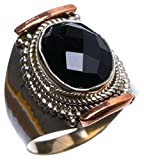 StarGems tm Natural Two Tones Black Onyx Handmade Unique 925 Sterling Silver Ring, US size 8.75 X 2067