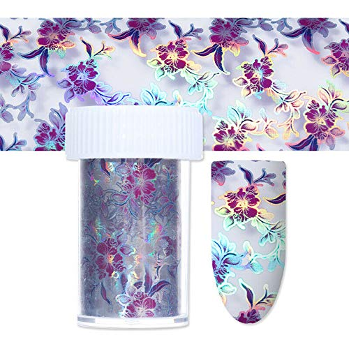4100cm Nail Art Transfer Wrap Foil Sticker Glitter Tips Decal Decoration DIY (Pattern - Purple Flower(4120cm))
