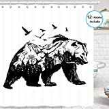 Bear Shower Curtain for Bathroom, Hand Drawn Bear with Forest Trees Flying Birds Animal Lodge Cabin Shower Curtain for Bathroom, 72' W x 72' H Inch Cloth Fabric Bath Curtain Hooks Include, Black White