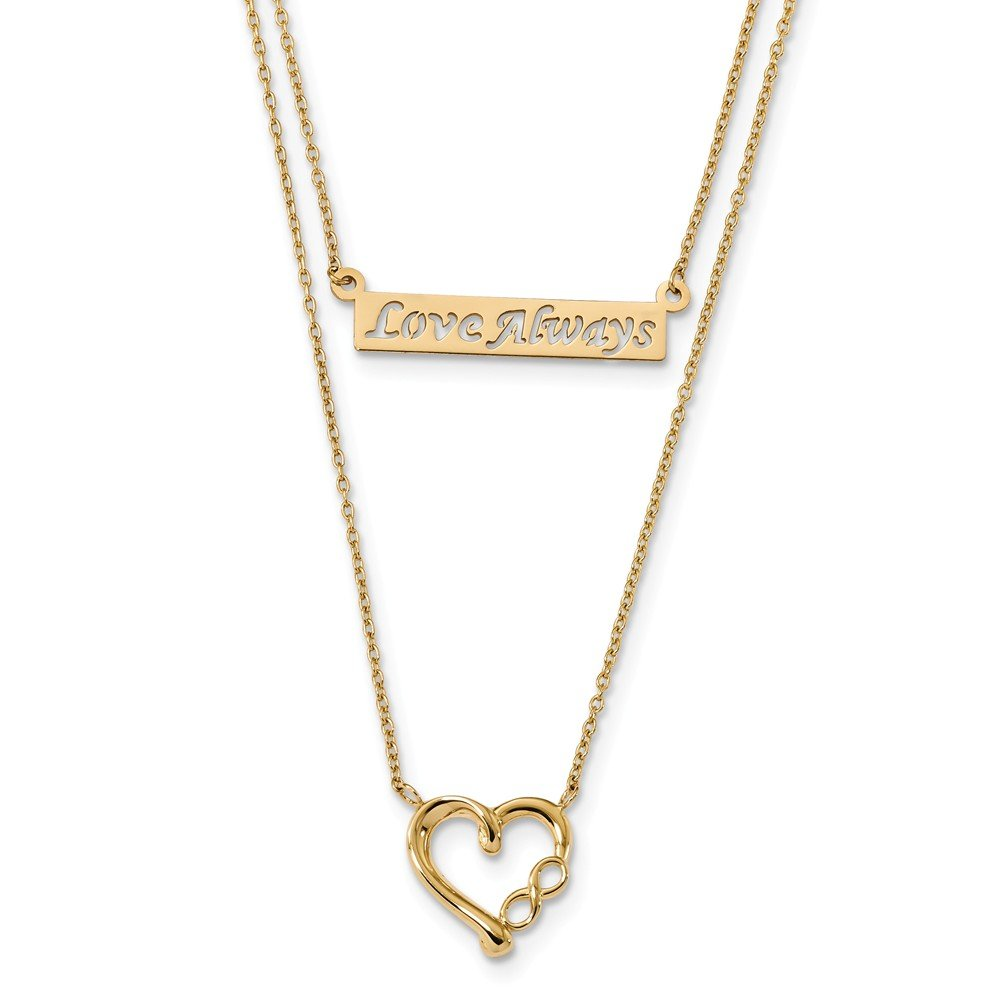 Best Designer Jewelry 14k Two-Strand Polished Love Always Heart Necklace