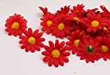 100Pcs Artificial Flowers Wholesale Fake Flowers Heads Gerbera Daisy Silk Flower Heads Sunflowers Sun Flower Heads for Wedding Party Flowers Decorations Home D¨¦cor Red