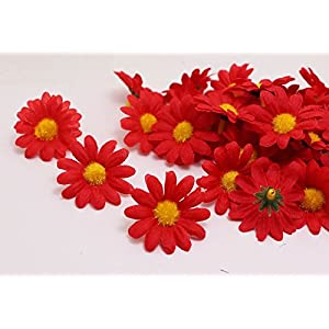 MXXGMYJ 100Pcs Artificial Flowers Wholesale Fake Flowers Heads Gerbera Daisy Silk Flower Heads Sunflowers Sun Flower Heads for Wedding Party Flowers Decorations Home D¨¦cor Red 104