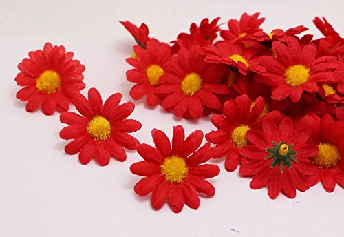 MXXGMYJ 100Pcs Artificial Flowers Wholesale Fake Flowers Heads Gerbera Daisy Silk Flower Heads Sunflowers Sun Flower Heads for Wedding Party Flowers Decorations Home D¨¦cor Red