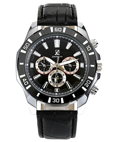 Watch Black Face Leather Band - 7