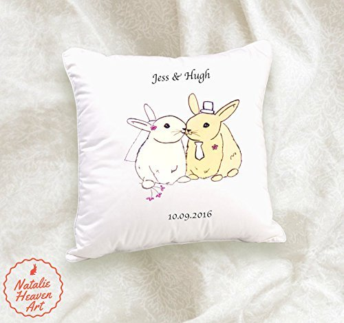 Personalised Wedding Gifts for Bride and Groom Bunny Cushion Covers UK Bridal Shower Personalized Pillow Case Rabbit Lover Anniversary Wife, 11oz, 15oz, gift