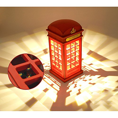 Telephone Booth Vintage London Designed USB Charging LED Night Lamp Touch Sensor Table Desk Light Touch Panel Power-Saving Light Bedside Lamp