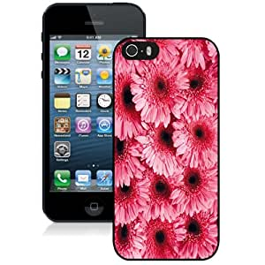 NEW Fashion Custom Designed Cover Case For iPhone 5S Flowers Pattern Black Phone Case