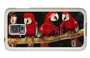 Diy Samsung Galaxy S5 Cheap price cases Four red parrot PC White for Samsung S5,Samsung Galaxy S5,Samsung i9600