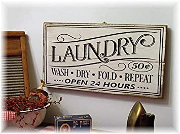 Amazon.de: Monsety Laundry Wash Dry Fold Repeat Open 24 Hours ...