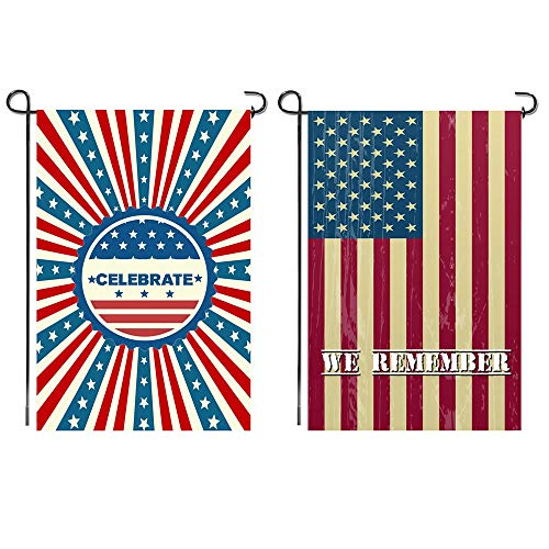 Shmbada 2 Pack American 4th of July Garden Flags, Premium Fabric Double Sided, USA Patriotic Stars and Stripes Outdoor Decorative for Yard Lawn, 12 x 18 Inch