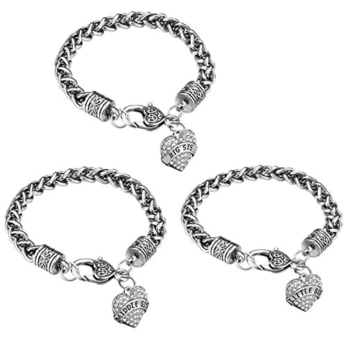 iJuqi Sister Gift Charm Bracelet Set - 3pcs Silver Crystal Love Heart Big Middle Little Sis Link Bracelets Fashion Christmas Birthday Jewelry for Sisters Women Girls Daughters Kids