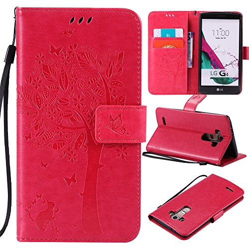 LG G3 Case,Best Share Embossing Fashion Floral Countryside Pattern PU Leather Flip Stand Case Wallet Design Card Slot Kickstand Feature With Hand Strap Cover For LG G3 VS985 D850 D851 4G LT,Rose