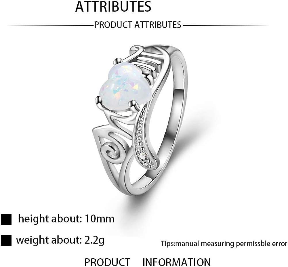 Yazilind bagues pour Dames Silvering Zircon cubique Dames Bague de fian/çailles Bague en Forme de Coeur Opale Design Bijoux de fian/çailles