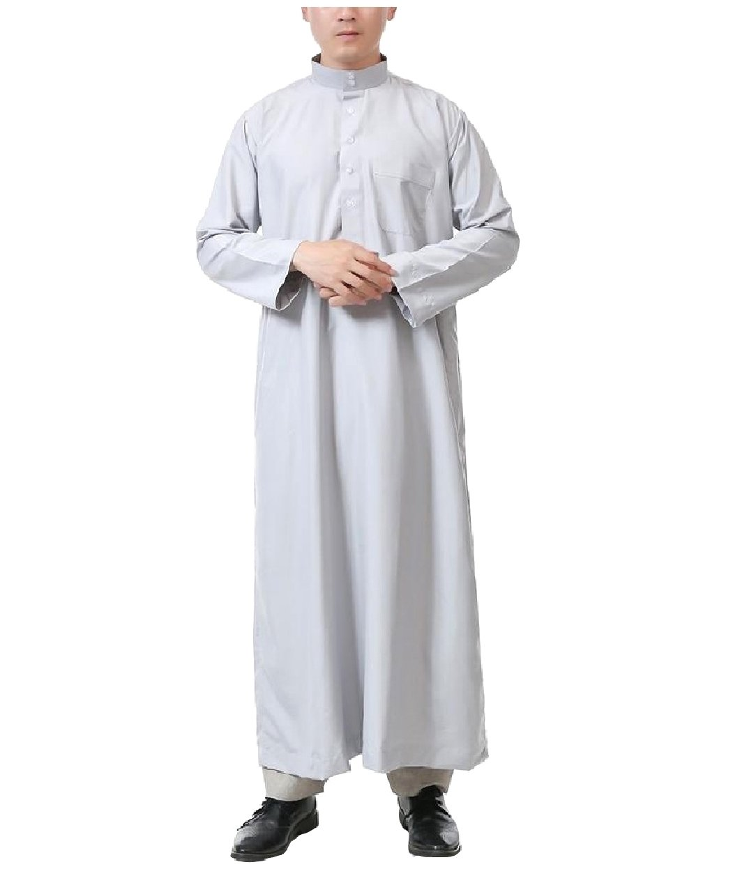 Winwinus Mens Saudi Arabia Long-Sleeve Button-Up Islamic Arab Muslim Thobe Grey 60