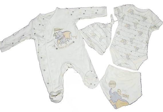 Baby Girl Boy Unisex Disney Dumbo 4 Piece Starter Set Sleepsuit Vest