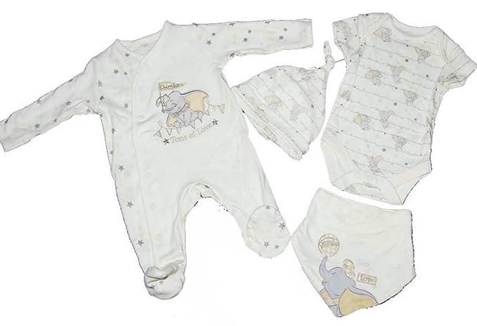 a94074be520f Disney Baby Girl Boy Unisex Dumbo 4 Piece Starter Set Sleepsuit Vest Hat  Bandana 0-3 Months: Amazon.co.uk: Clothing