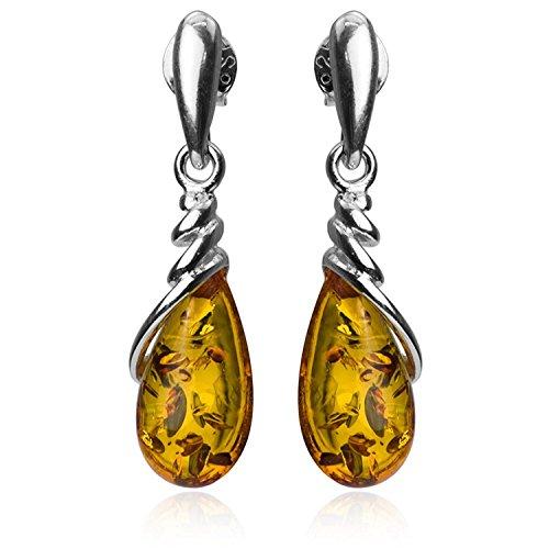 - Amber Sterling Silver Drop Dangle Small Earrings