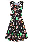 STYLEWORD Women's Christmas Sleeveless Flare Cocktail Dress with Pocket(Floral03,M)