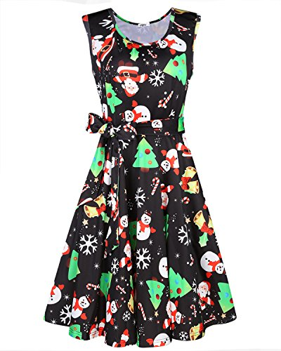 OUGES Women's Fit and Flare Cocktail Dress(Snowman Print-186,M)