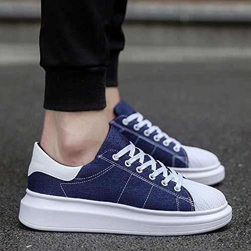 Men's Shoes Feifei Spring and Autumn Fashion Thick Bottom Wear-Resistant Casual Shoes 4 Colors (Color : Blue, Size : EU43/UK9/CN44)