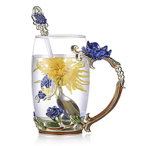 - RED MAISON Clear Glass Tea Coffee Cups Elegant Enamel Flower Butterfly Glass Mugs with Spoon Gift Set for Women Girl Friend,13.5 oz (Blue Rose 400ml)