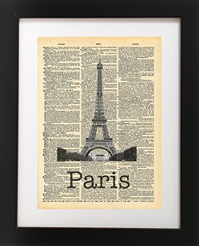 Eiffel Tower Paris France Vintage Dictionary Print 8x10 inch Home Vintage Art Abstract Prints Wall Art for Home Decor Wall Decorations For Living Room Bedroom Office (Paris Antique Print)